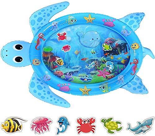 Tummy Time Wassermatte, Baby Wassermatte Säugling Aufblasbare Spielmatte für 3 6 9 12 Monate Neugeborene Jungen Mädchen - 122 cm x 95 cm