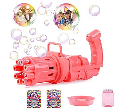 u/n Hua Seifenblasenmaschine, 8 Loch Bubble Maker Guns,Bubble Gun,Automatische Bubble Maker, Bubble Gun Outdoor Spielfür Jungen Mädchen (Rosa)