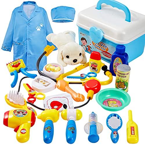 BUYGER 2 in 1 Tierarztkoffer Arztkoffer Kinder Rollenspiel Spielzeug ab 3 Jahre, mit Hund Arztkittel Tierarzt Spielzeug für Mädchen Junge
