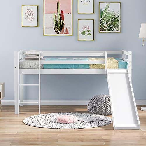 Pumpumly Kinder-Hochbett mit Leiter, Etagenbett für Kinder, mit verstellbarer Leiter und Rutsche, Weiß, 190 x 90 cm