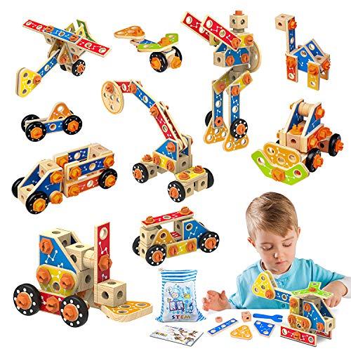 LUKAT Holz Konstruktionsspielzeug, STEM Bausteine Spielzeug 3 4 5 6 7 8 9 10 Jahre 72 PCS holzspielzeug Lernspielzeug Pädagogisches Spielzeug für Jungen und Mädchen Geschenk