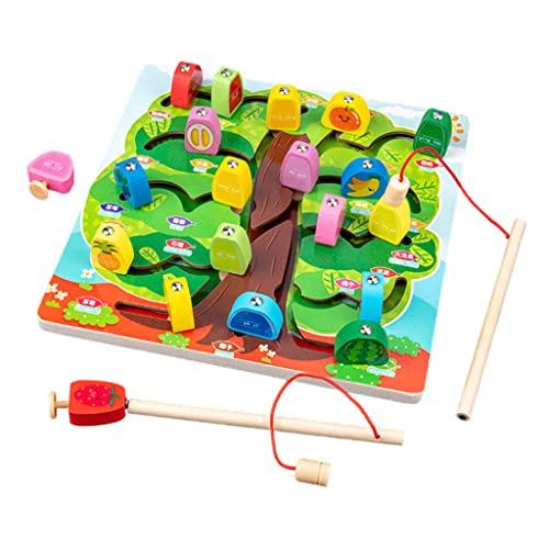 Sharplace Holz Magnetisches Angelspiel Montessori Vorschule Brettspiel Frühes Lernspielzeug Puzzle Labyrinth Aktivität Weihnachten Geburtstagsfeier Geschenk - Frucht
