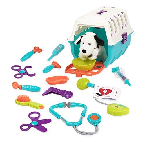 Battat Tierarztkoffer mit Dalmatiner – Tierarzt Hundekäfig Spielzeug mit Transportkäfig und Arzt Zubehör für Kinder (15 Teile) Spielzeug ab 2 Jahren