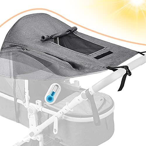 Dioxide Universal Kinderwagen Sonnensegel mit UV Schutz 50+ und Wasserdicht,Sichtfenster und extra breite Schattenflügel, Verstellbar Sonnenschutz für Kinderwagen Buggy (Grau)