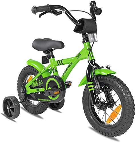 Prometheus Kinderfahrrad 12 Zoll Jungen mit Stützräder ab 3 Jahre Mädchen Rücktritt 12zoll BMX Modell 2021 in Grün Schwarz
