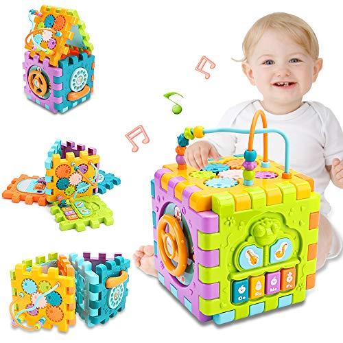 nicknack Aktivitätswürfel Babyspielzeug, 6 in 1 Mehrzweck-Lernwürfel mit Musik, Aktivitätscenter Formsortier Spielzeuggeschenk für 18M + Jahre alte Jungen Mädchen Kleinkinder Kinder