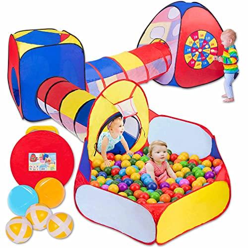 all Kids United® Spielzelt mit Tunnel, Bällebad, Krabbel-Tunnel & mehr (ohne Bälle) XXL Spielland 5-teiliges Pop-Up Spiel-Haus mit Tasche