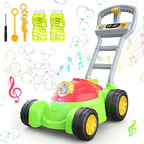 theefun Seifenblasen Rasenmäher, Rasenmäher mit Seifenblasen Spielzeug Baby Kinder ab 3 Jahre Kinderspielzeug Seifenblasen Rasenmäher Gartenspielzeug Für Kinder (2 x Schaumwasser)