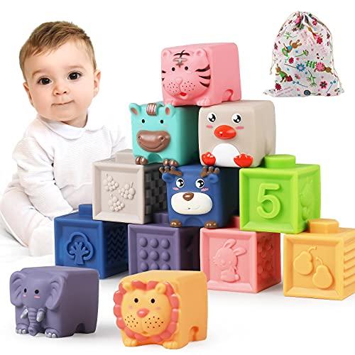 Bauklötze für Babys ab 6 9 12 Monate 1 2 3 4 Jahre, Luclay Kleinkinder Weiche Bausteine Stapelwürfel, Montessori Sinnesspielzeug Beißring Badespielzeug 12 Stück