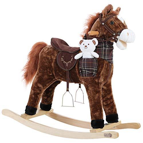 Deuba Schaukelpferd   Sound Effekte   mit Sattel, Zaumzeug und Steigbügel   Schaukeltier Plüsch Schaukel Wippe Pferd Kinder Baby Spielzeug