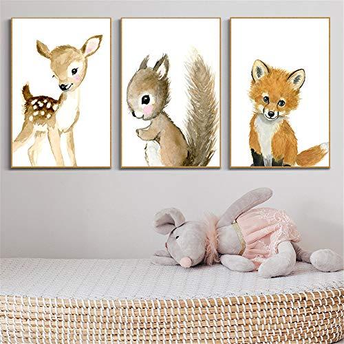 Martin Kench 3er Set Bilder Kinderzimmer Deko Junge Mädchen Poster Kinderbilder Wandgestaltung Wanddekoration Wandbilder Babyzimmer (Stil 2,30 * 40cm)