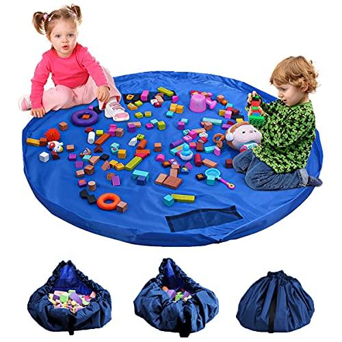 Kinder Aufräumsack,Baby Spielzeug Aufbewahrung,Kinder Spielzeug Beutel,bewegliches großes einfaches aufgeräumtes Spiel u. Aufbewahrungs-Matte,(150CM blau)