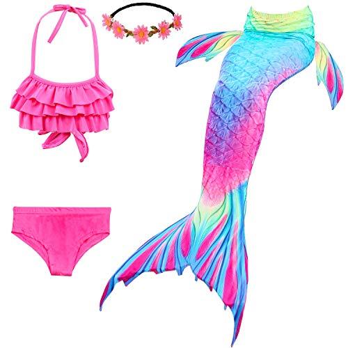 Fishkidtail Meerjungfrauenflosse Mädchen, Meerjungfrau Schwänze für Schwimmen 4Pcs Bikini Badeanzug Kostüm Kinder(Height 42-44in(Gr.110,B Aurora)