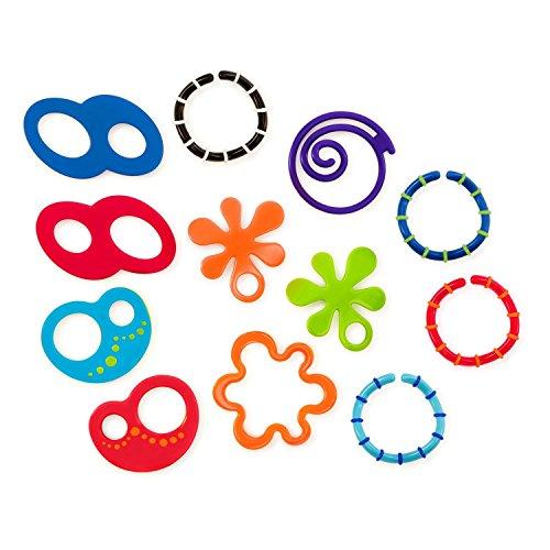 Bright Starts, Oball Linky Loops, Kinderwagenkette, 12 Verbindungsglieder, BPA-frei, leicht zu greifen, zum Spielen oder Befestigen von Spielsachen
