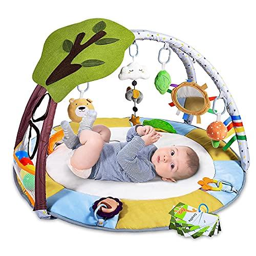 Krabbeldecke für Baby mit 9 Spielzeug, Lup Spieldecke mit Spielbogen für Sensorische und Motorische Fähigkeiten, Spieldecke Baby mit 2 Beißring und Bällebad, Größer, Dicker, Rutschfest, 0m +