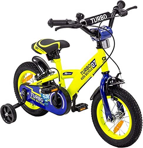 Actionbikes Kinderfahrrad Turbo - 12 Zoll - Felgenbremsen - Freilauf - Kettenschutz - Stützräder - Luftbereifung - Kinder Fahrrad - Laufrad - Kinderrad - Von 2-5 Jahren