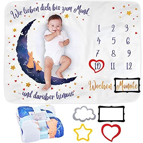 Baby Meilenstein Decke auf Deutsch | Foto Monatsdecke Baby Neugeborene Junge oder Mädchen, Unisex | Personalisiertes Baby Party-Geschenk | Motiv Mond & Sterne | Weich | Baby Monats-Decke | Mit Rahmen