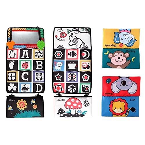 AUTOECHO Bauchspiegel, faltbares Babyspielzeug mit Spiegel für die Bauchposition, Schwarz-Weiß-Spielzeug mit Kontrast, Montessori-Entwicklungsspielzeug für Neugeborene 0 3 6 12 Säuglinge