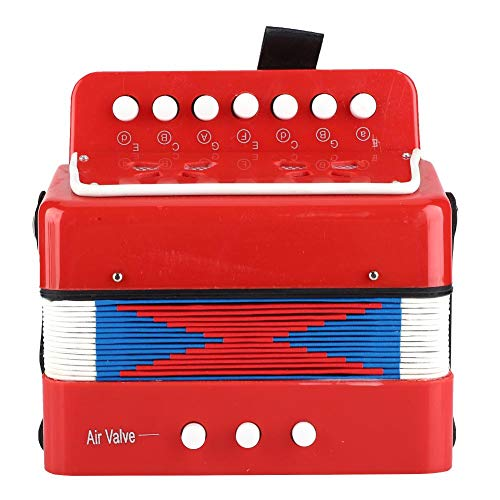 frenma Kinder Akkordeon, Kinder Akkordeon Spielzeug Rhythmusspielzeug Akkordeon Spielzeug zur Verbesserung des Rhythmusgefühls(rot)