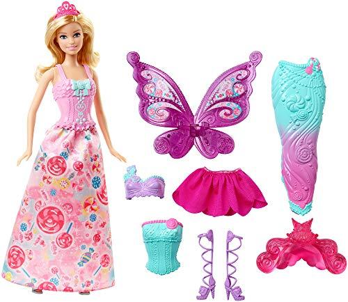Barbie DHC39 - Dreamtopia 3-in-1 Fantasie Puppe, Fee, Meerjungfrau und Prinzessin, Geschenk Set mit 3 Outfits und Zubehör, Puppen und Mädchen Spielzeug ab 3 Jahren [Exklusiv bei Amazon]