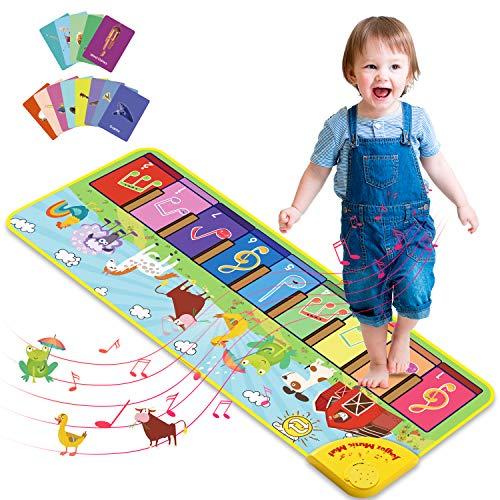 Joyjoz Piano Matte mit 25 Sounds, Baby Klaviermatte Tanzmatte Musikmatte, 7 Tierstimmen Musik Matte, Kinder Keyboard Spielteppich für Jungen Mädchen 1–5 Jahre (100 x 36 cm)