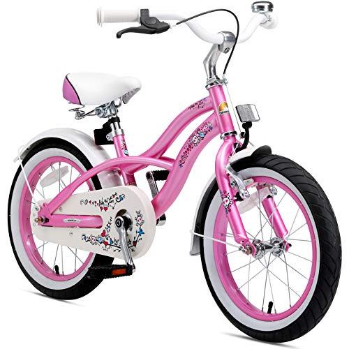 BIKESTAR Kinderfahrrad für Mädchen ab 4-5 Jahre   16 Zoll Kinderrad Cruiser   Fahrrad für Kinder Pink   Risikofrei Testen
