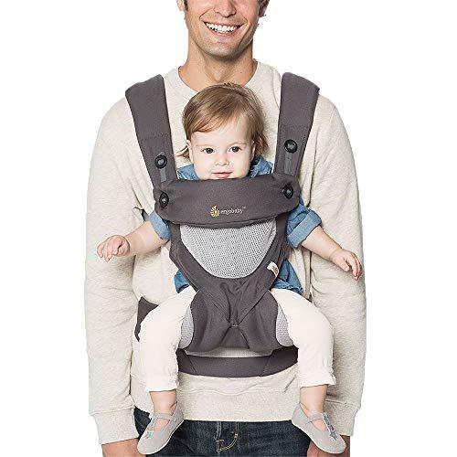 Ergobaby Babytrage 360 Cool Air Mesh Carbon Grey, Ergonomische 4in1 Babytragetasche Baby-Tragesystem Kindertrage bis 20 kg