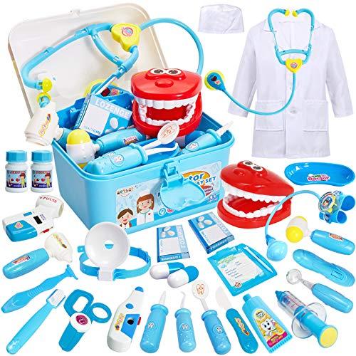 BUYGER Arztkoffer Kinder Rollenspiel Spielzeug Medizinisches Doktor Arztkittel Geschenke Kinderspielzeug für Mädchen Junge ab 3 Jahre