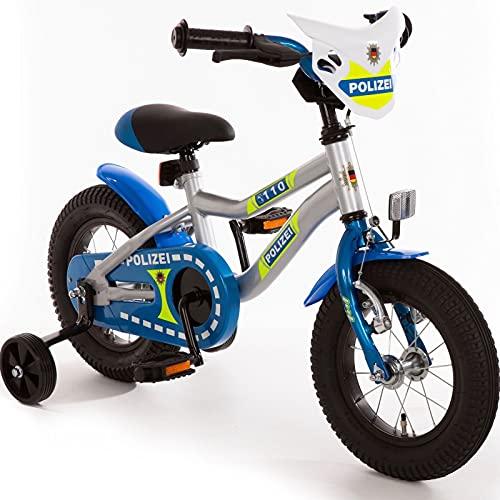 Kinderfahrrad 14 Zoll mit Stützräder und Rücktrittbremse Jungen Mädchen Fahrrad für Kinder ab 3 Jahren Polizei