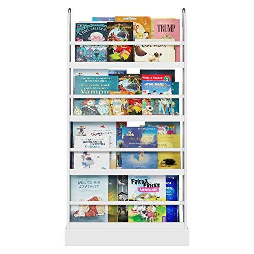 Homfa Bücherregal Standregal für Kinder Regal Wandregal Kinderzimmer Kinderregal Aufbewahrungsregal 58x12x110cm