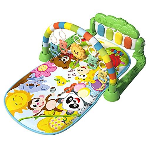 Spielmatte Baby mit Spielbogen, Spieldecke für Baby mit Musik und Lichtern, Kick und Play Piano Mat für Neugeborene Kleinkinder, Lernspielzeug für Jungen und Mädchen im Alter von 1-36 Monaten