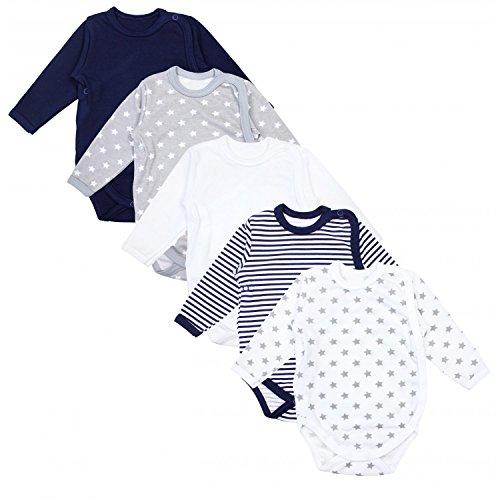 TupTam Baby Unisex Langarm Wickelbody Print/Uni 5er Pack, Farbe: Mehrfarbig, Größe: 68