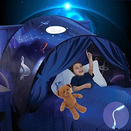 Mgee Kinderzelt Bettzelt Pop Up Zelt Spielzelt Traumzelt, Faltbares Indoor Spielhaus Zelt für Schlafzimmer Dekoration, Geschenke für Kinder (B-Blau)