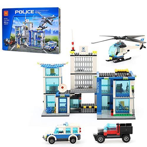 TRCS City Polizei Spielzeug Bausteine, 882 Teile Mobile Kommandozentrale mit Hubschrauber & Polizeiauto & Waffen & Minifigur für SWAT Polizei Kompatible with Lego 60139