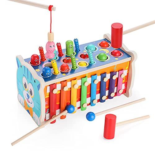 Fascol 7 in 1 Xylophon und Hammerspiel, Klopfbank Holz, Buntem Xylophon Kinder Spielzeug, Holzspielzeug Baby, Montessori Spielzeug für Kinder ab 2 Jahre +