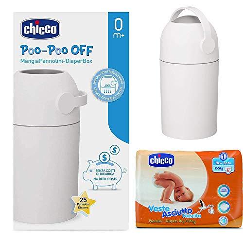 CHICCO NEW Born Pack: Windeleimer ODOUR OFF silber - geruchsdichtes System, herkömmliche Tüten verwendbar + CHICCO Windeln Neugeborene Gr.1 (2-5 kg)