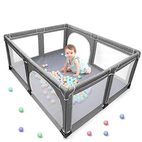 Yobest baby laufgitter, XXL laufstall baby, Aktivitätszentrum für Kinder im Innen- und Außenbereich mit Rutschfester Basis, Stabiler Schutzgitter für Kindern(190 * 150 * 70cm)