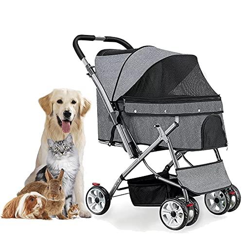 MIAE Hundekinderwagen Für Große Hunde Mit Aufbewahrungskorb, Faltbarer 4-Rad-Haustier-Katzenträger, Leichter Joggingwagen, Transportbox Mit Aufbewahrungskorb