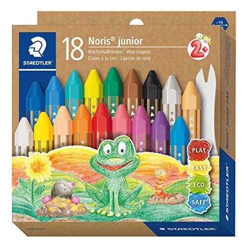 STAEDTLER Wachsmalkreide Noris junior 224, perfekt für kleine Kinderhände, extra bruchsicher, Etui mit 18 Farben, 224 C18