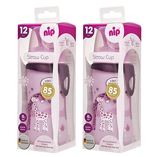 Doppelpack NIP Trinkhalm-Flasche Straw Cup mit auslaufsicherem Strohhalm ab 12 Monate + 330 ml BPA frei, 2 Stk. made in Germany, Rosa