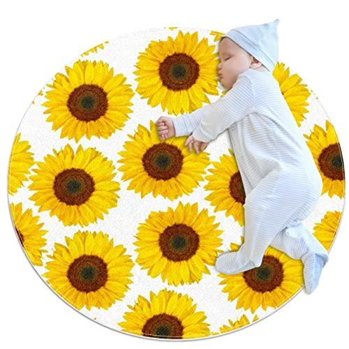 Kinderteppich, runder Teppich, Kinderspielmatte, für Jungen und Mädchen, weicher Teppich, gelbe Sonnenblume, Blumenmuster
