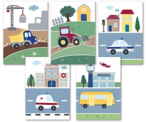 5er Set süße Fahrzeug Bilder - tolle Kinderzimmer Deko für Jungen -– Kinderbilder und Baby Poster - DIN A4 Wandbilder ohne Bilderrahmen - Bilder Babyzimmer (5er Set)