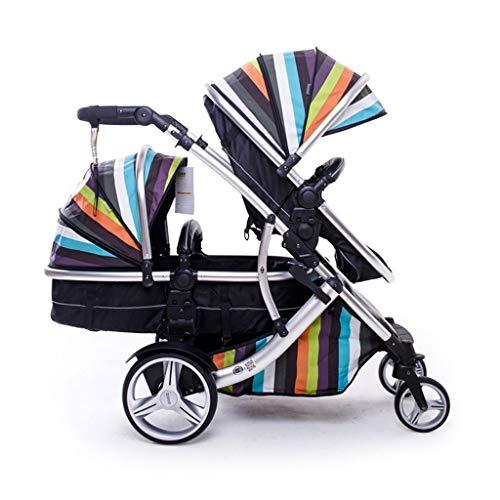 QIFFIY Kinderauto Geschwisterwagen Kinderwagen Doppel vordere und hintere Auto-Licht-Folding-Baby-Kind-Auto for Zwillinge Kinderwagen Zwillinge Pram Kinderwagen (Color : A)