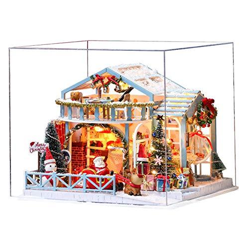 Queenser Weihnachten DIY Puppenhaus Holzpuppenhäuser Mitur Puppenhaus Möbel Kit mit LED-Licht Spielzeug für Kinder