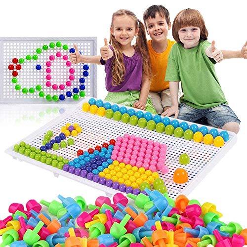 980 Stecker Puzzle Steckspiel Pilz Nägel Pädagogische Baustein Spielzeug Kreative DIY Mosaik Spielzeug Steckpuzzle Lernspielzeug Geburtstag Weihnachtsfest-Geschenk für Kinder Baby ab 3 Jahre alt