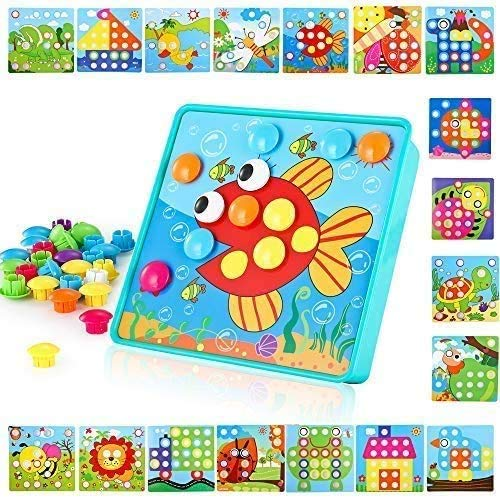 TINOTEEN Mosaik Steckspiel für Kinder Lernspielzeug Steckmosaik mit 50 Steckperlen und 18 Bunten Steckplätte