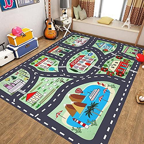 WFF56 Straßenspielteppich Stadtverkehr Teppich Kinderspielzimmer Spielteppich Lernspaß Kinder Bildung Verkehrssicherheit(Color:Y06,Size:200 * 290CM)