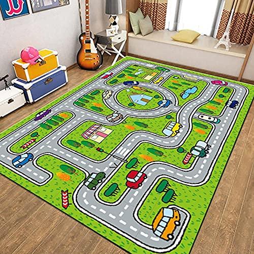 WFF56 Straßenspielteppich, Straßenverkehr, Schlafzimmerspielzimmer, Babyzimmer, Kinderzimmer Dekoteppich, sicherer und weicher Puzzleteppich 80 * 120cm(Color:AA12,Size:180 * 250cm)