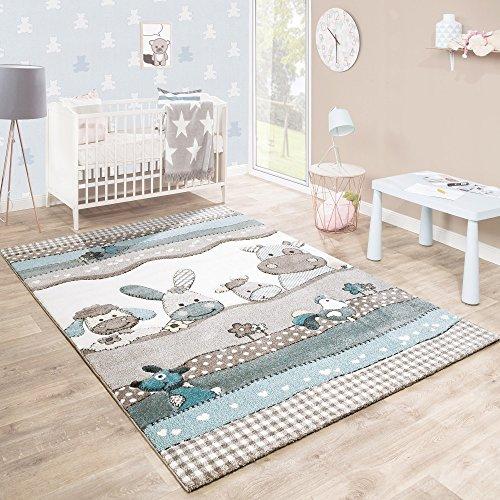 Paco Home Kinderteppich Kinderzimmer Konturenschnitt Farm Tiere Beige Creme Pastellfarben, Grösse:140x200 cm