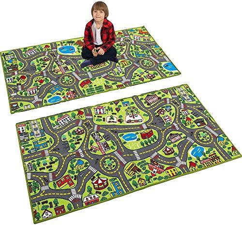 JOYIN 2 Kinder Teppich Spielmatten, Jumbo Spielteppich Stadt, Straßenverkehrsspielmatte, Kinder Teppich Spielfläche Teppich & Lerngeschenk für Kinder Schlafzimmer und Spielzimmer